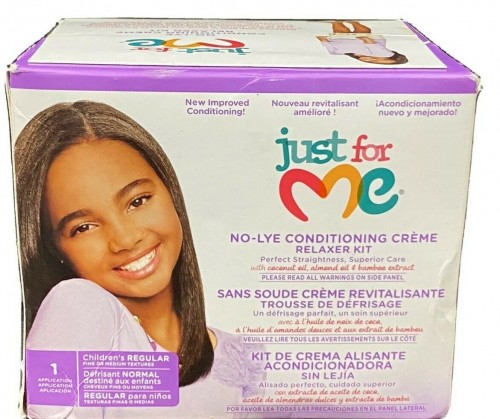 Just For Me No-Lye Kids Reg. Conditioning Creme Relaxer Kit Perfect Straighting