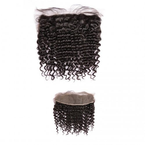 MAHB Luxury Virgin Peruvian Curly Human Hair Lace Frontal